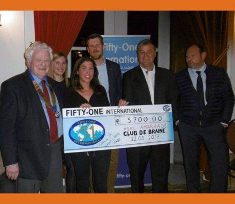 22 mars : Remise d'un prix pour l'Amarrage de la part des Fifty-One clubs de Braine, de Sept Fontaines et de Lillois