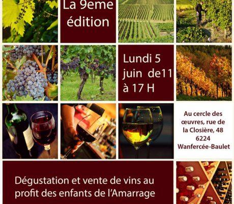 """Dégustation et vente de vins au profit des enfants de l'Amarrage """"9e édition"""""""