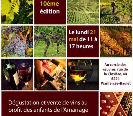 """Dégustation et vente de vins au profit des enfants de l'Amarrage """"10ème édition"""""""
